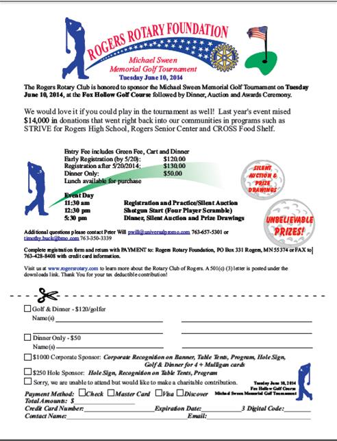 Golf Tournament registration form - Rotary Club of Rogers, MN